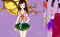 Enfeitar menina japonesa