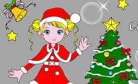 Colorir menina de Natal