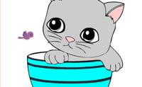 Kolorowanki Na Linii-Kot