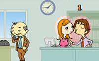 Beso en la oficina