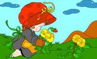 Colorir menina com flores