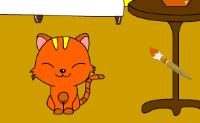 Colorear niña y gato