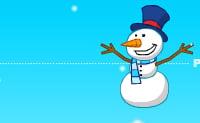 Springende sneeuwpop