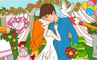 Coloriage : mariée mignonne